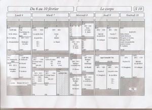 EMPLOI DU TEMPS du 6 au 10 FEVRIER (S10) Dite