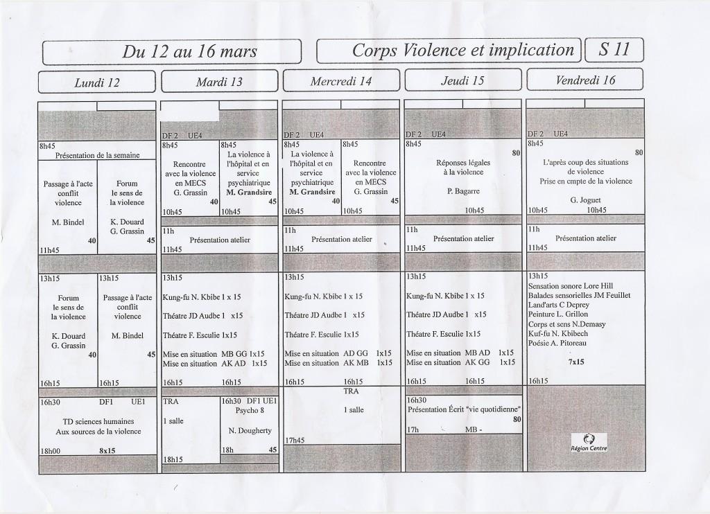 EMPLOI DU TEMPS du 12 au 16 MARS (S11) Semaine dont le thème est